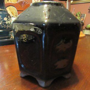 Vintage Black Glazed Terra Cotta Bamboo Planter